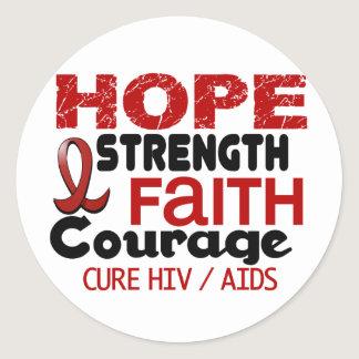 AIDS HIV HOPE 3 CLASSIC ROUND STICKER