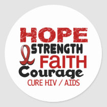 AIDS HIV HOPE 3 CLASSIC ROUND STICKER