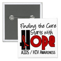AIDS HIV HOPE 4 PINBACK BUTTON