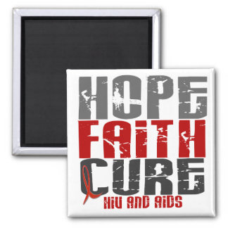 AIDS / HIV HOPE FAITH CURE 2 INCH SQUARE MAGNET