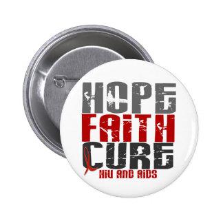 AIDS HIV HOPE FAITH CURE PINBACK BUTTONS