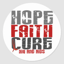 AIDS / HIV HOPE FAITH CURE CLASSIC ROUND STICKER
