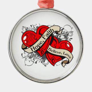 AIDS HIV Hope Faith Dual Hearts Round Metal Christmas Ornament