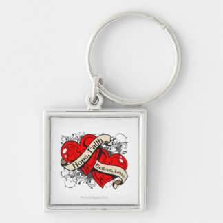 AIDS HIV Hope Faith Dual Hearts Silver-Colored Square Keychain