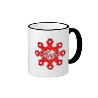 AIDS HIV Hope Unity Ribbons Ringer Coffee Mug