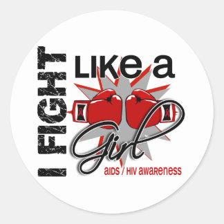 AIDS HIV I Fight Like A Girl 13.1 Round Sticker