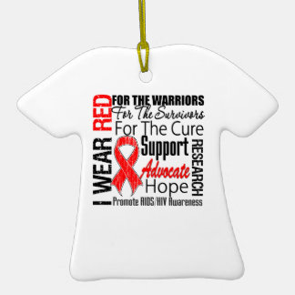 AIDS HIV I Wear Red Ribbon Tribute Double-Sided T-Shirt Ceramic Christmas Ornament