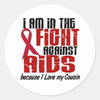 AIDS HIV In The Fight 1 Cousin Classic Round Sticker