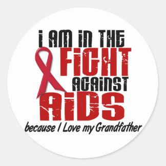 AIDS HIV In The Fight 1 Grandfather Classic Round Sticker