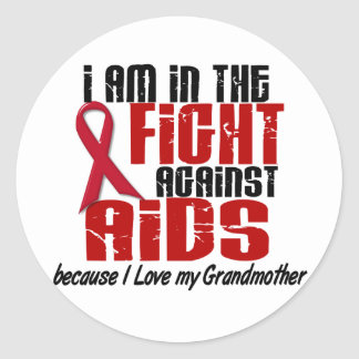 AIDS HIV In The Fight 1 Grandmother Classic Round Sticker