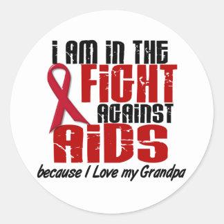 AIDS HIV In The Fight 1 Grandpa Classic Round Sticker