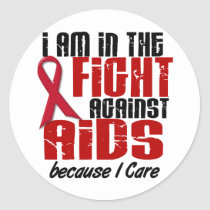 AIDS HIV In The Fight 1 I Care Classic Round Sticker