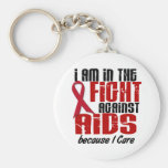 AIDS HIV In The Fight 1 I Care Basic Round Button Keychain