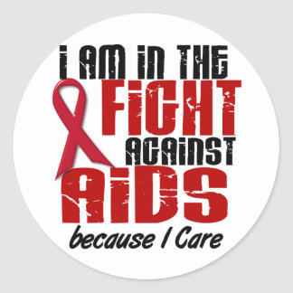 AIDS HIV In The Fight 1 I Care Round Sticker