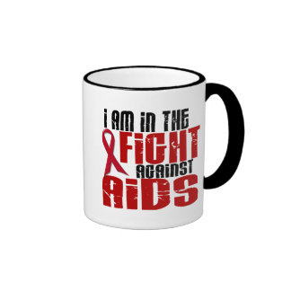 AIDS HIV In The Fight 1 Ringer Coffee Mug