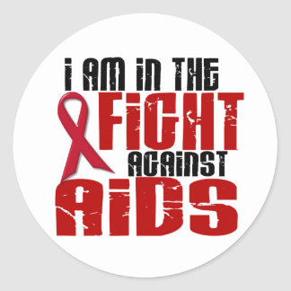 AIDS HIV In The Fight 1 Round Stickers