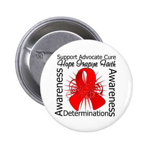 AIDS HIV Inspirations Spiral Ribbon Pinback Buttons