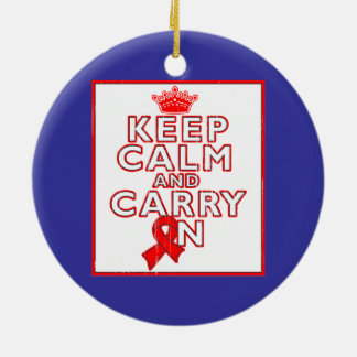AIDS HIV Keep Calm and Carry ON Double-Sided Ceramic Round Christmas Ornament