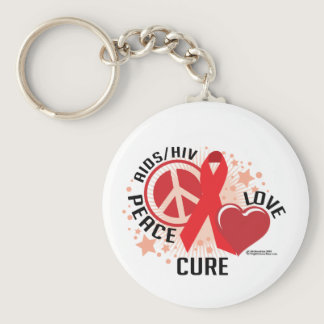 AIDS/HIV Peace Love Cure Keychain