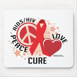 AIDS/HIV Peace Love Cure Mouse Pad