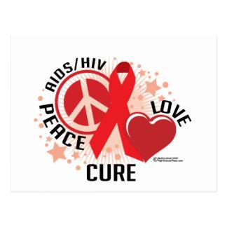 AIDS/HIV Peace Love Cure Postcard