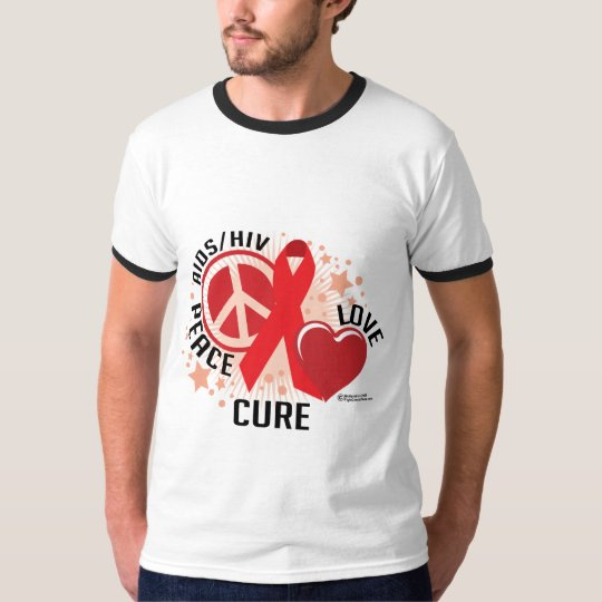 AIDS/HIV Peace Love Cure T-Shirt