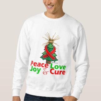 AIDS HIV Peace Love Joy Cure Pullover Sweatshirts