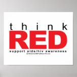 AIDS/HIV piensan rojo Posters