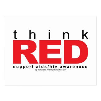 AIDS/HIV piensan rojo Tarjetas Postales