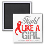 AIDS HIV Ribbon - Fight Like a Girl Magnet