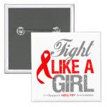 AIDS HIV Ribbon - Fight Like a Girl Pinback Button