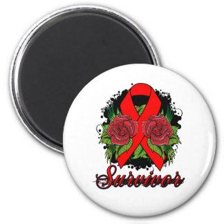 AIDS HIV Rose Grunge Tattoo Magnet