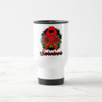 AIDS HIV Rose Grunge Tattoo 15 Oz Stainless Steel Travel Mug