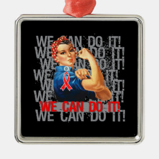 AIDS HIV Rosie WE CAN DO IT Square Metal Christmas Ornament