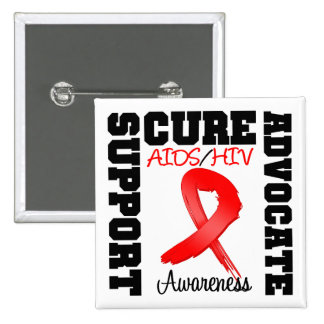 AIDS HIV Support Advocate Cure Buttons