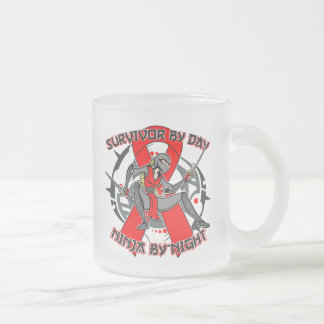 AIDS HIV Survivor By Day Ninja By Night 10 Oz Frosted Glass Coffee Mug