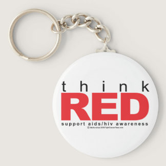 AIDS/HIV Think Red Keychain
