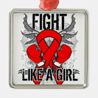 AIDS HIV Ultra Fight Like A Girl Square Metal Christmas Ornament