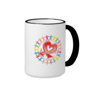 AIDS HIV Unite in Awareness Ringer Coffee Mug