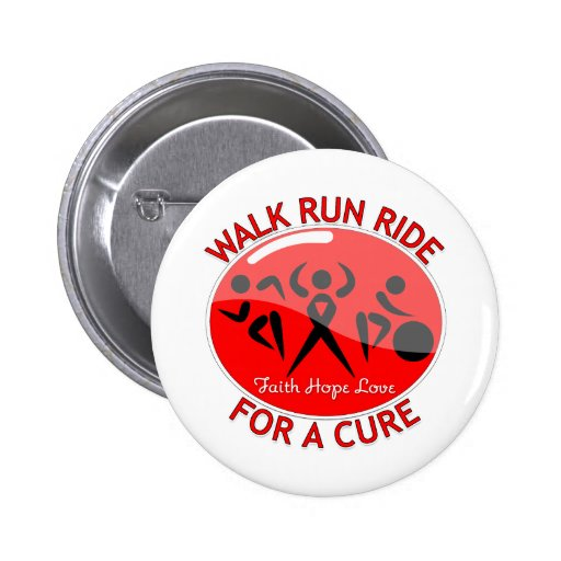 AIDS HIV Walk Run Ride For A Cure 2 Inch Round Button