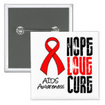 AIDS Hope Love Cure Ribbon 2 Inch Square Button