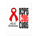 AIDS Hope Love Cure Ribbon Postcard