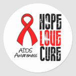 AIDS Hope Love Cure Ribbon Round Sticker