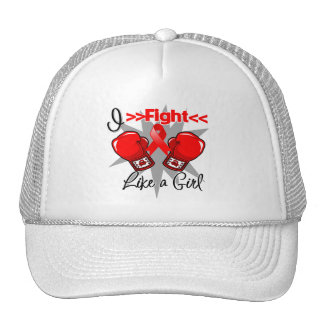 AIDS I Fight Like a Girl With Gloves Mesh Hats
