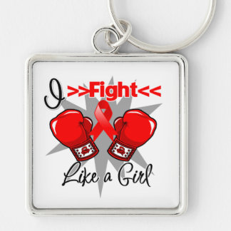 AIDS I Fight Like a Girl With Gloves Keychains