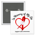 AIDS In Memory of My Son 2 Inch Square Button