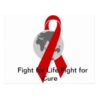 Aids Logo Fight for Life Fight for Cure Postcard