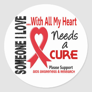 AIDS Needs A Cure 3 Round Stickers