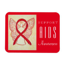 AIDS Red Awareness Ribbon Angel Custom Gift Magnet