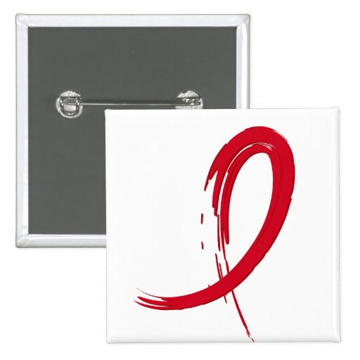 AIDS Red Ribbon A4 2 Inch Square Button